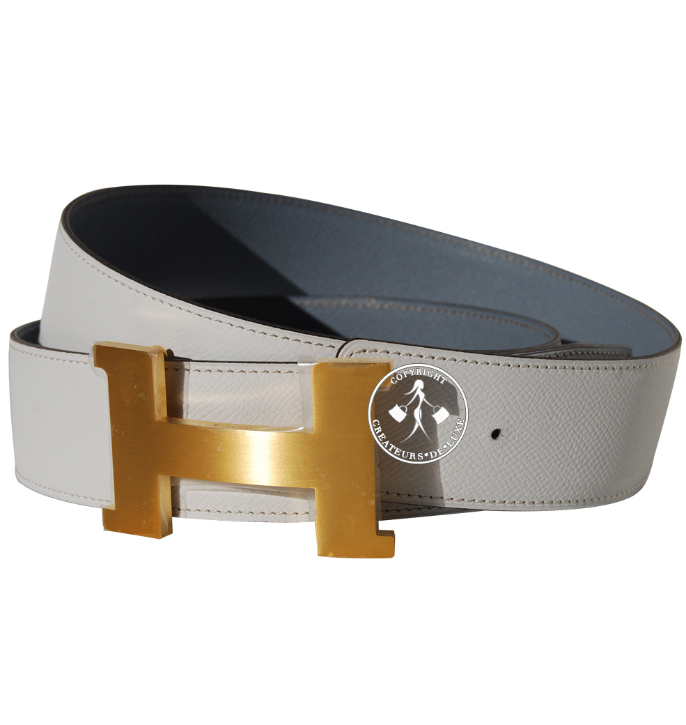 100cm hermes white gris perle epsom leather belt h